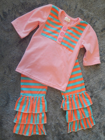 Pink, Teal, and Salmon Pants Set
