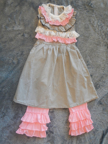 Pink and Gray Ruffled Pants Set