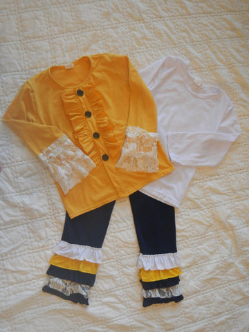 3 Piece Gold and Navy Ruffled Pants Set