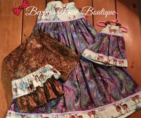 Deer Dress/Jumper, Pants, & Doll Dress Set