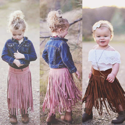 Suede Look Fringed Skirt