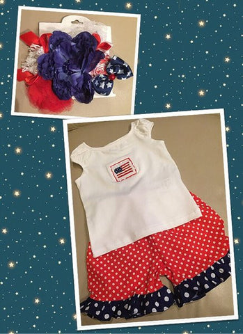 Girl's Patriotic Shorts Set