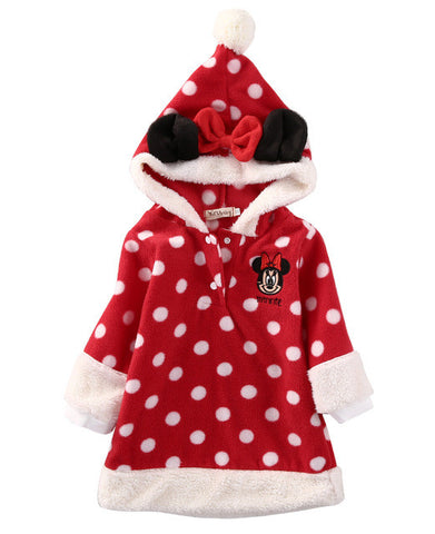 Red Polka Dot Fleece Pullover Jacket