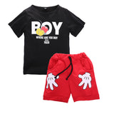 Boys Red and Black Shorts Set