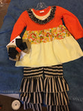Orange and Black Ruffled Pants Set