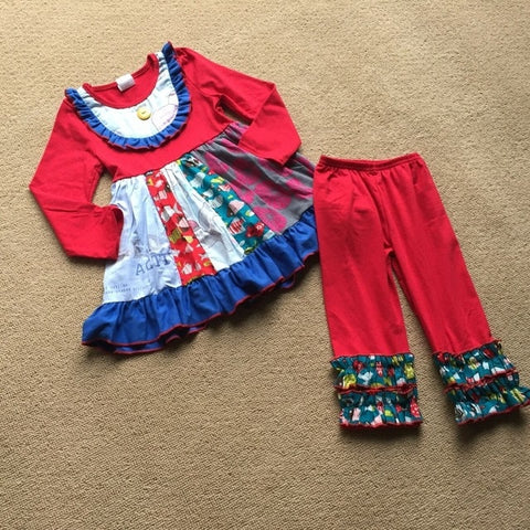 Red & Blue Ruffled Pants Set
