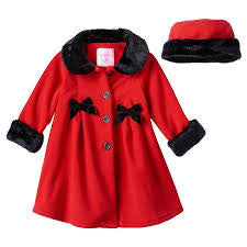 Toddlers Red Fur Trimmed Coat with Matching Hat