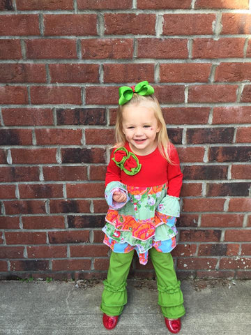 Red and Green Ruffled Pants Set