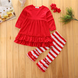 Red & White Striped Double Ruffled Pants Set