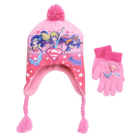 Pink Girls Superheros Trapper Hat and Gloves Set