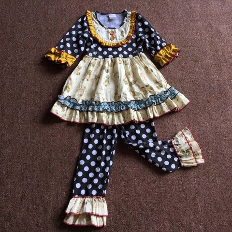 Teddy Bear Ruffled Pants Set