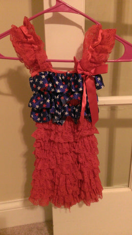 Girls layered ruffled lace patriotic dress