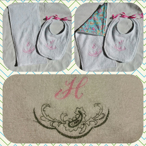 Monogrammed Bib and Burp Cloth Set