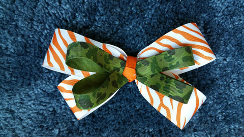 Orange And Camo Hairbow