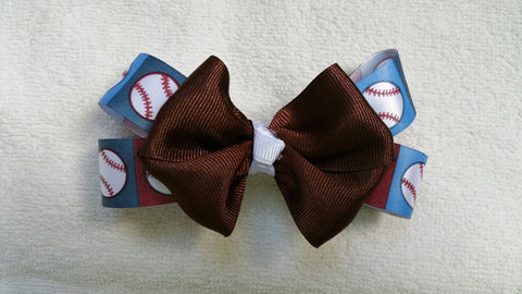 Brown And Blue Baseball Hairbow