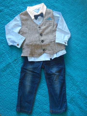 Boys Black Heather Vest and Jeans Set