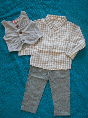 Grey Vested Pants Set