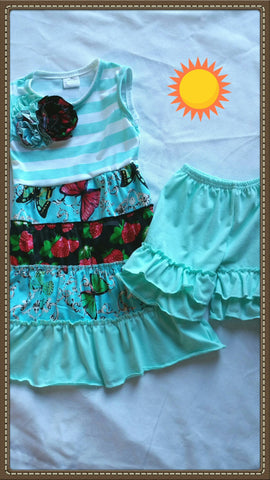 Aqua Ruffled Shorts Set
