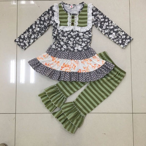 Green & Gray Ruffled Pants Set
