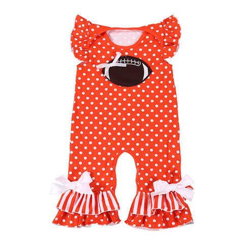 Orange Football Romper