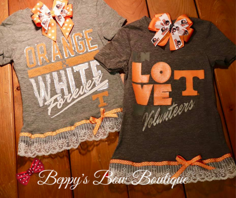 Gray Tennessee Shirt with Lace and Ribbon