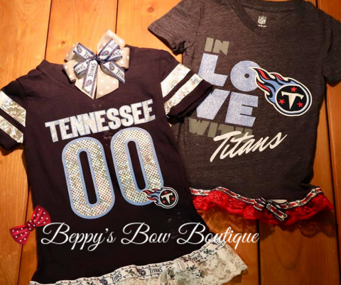 Tennessee Titans Shirt with Lace and Ribbon