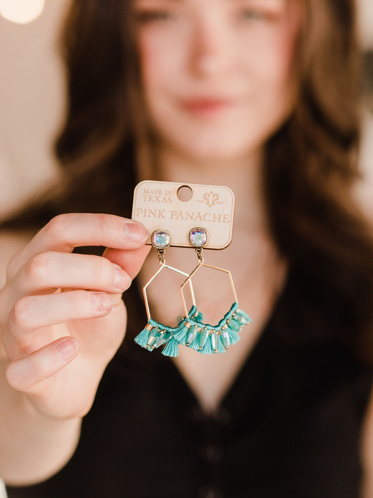 Aye Senorita Earrings - White + Turquoise