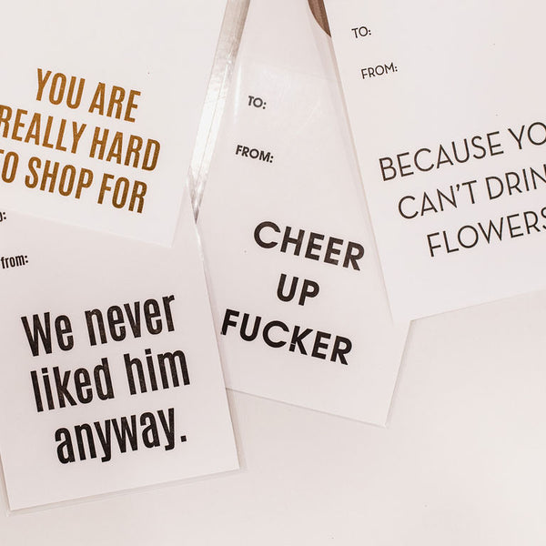 Cheer Up Fucker - Wine & Spirit Tag