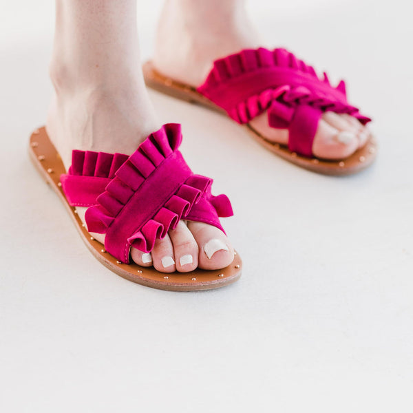 The Lola Sandal - Hot Pink