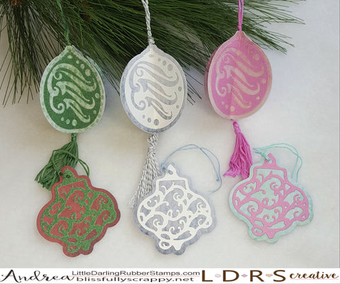 Ornaments and gift tags created with the Hope and Peace Ornament Dies from LDRS