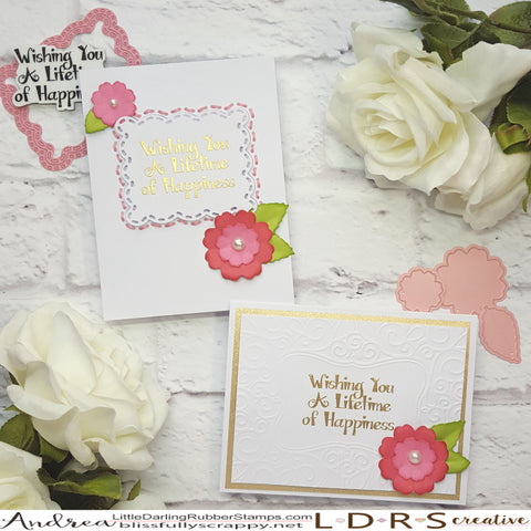 CAS Wedding Cards by Andrea Shell | Fancy Flowers Die Set by LDRS Creative