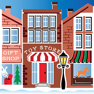 Christmas on Main Street 2-Pack 6x6 Stencil Set