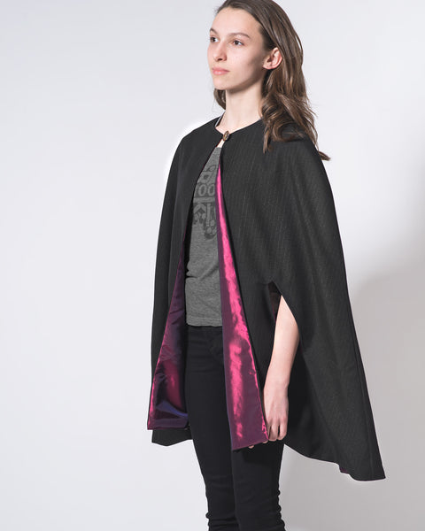 Long Plaid Wool Cape with Slit pockets