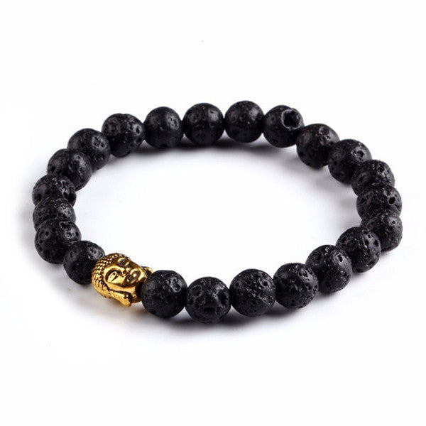 Strength Energy - Black Lava Buddha Bracelet