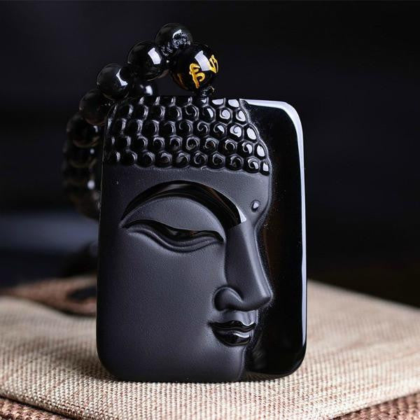 """Energy Healing"" Natural Black Obsidian Buddha Necklace"
