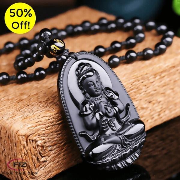VITALITY - Natural Volcanic Lava Obsidian Buddha Necklace