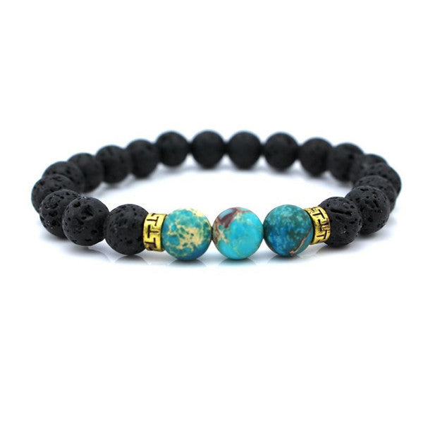 SOURCE ENERGY - Black Lava with Blue Stones Buddha Bracelet *FLASHSALE*