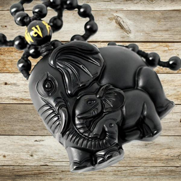Black Obsidian Lucky Elephant Pendant Necklace