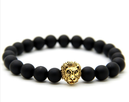 Strength of The Lion Head Black Gemstone Bracelet w/ FREE Shipping