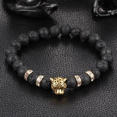 NEW Black Passion Leopard Natural Gemstone Bracelet w/ FREE Shipping