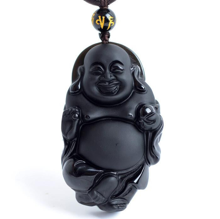 SERENITY - Happy Buddha Natural Black Obsidian Pendant