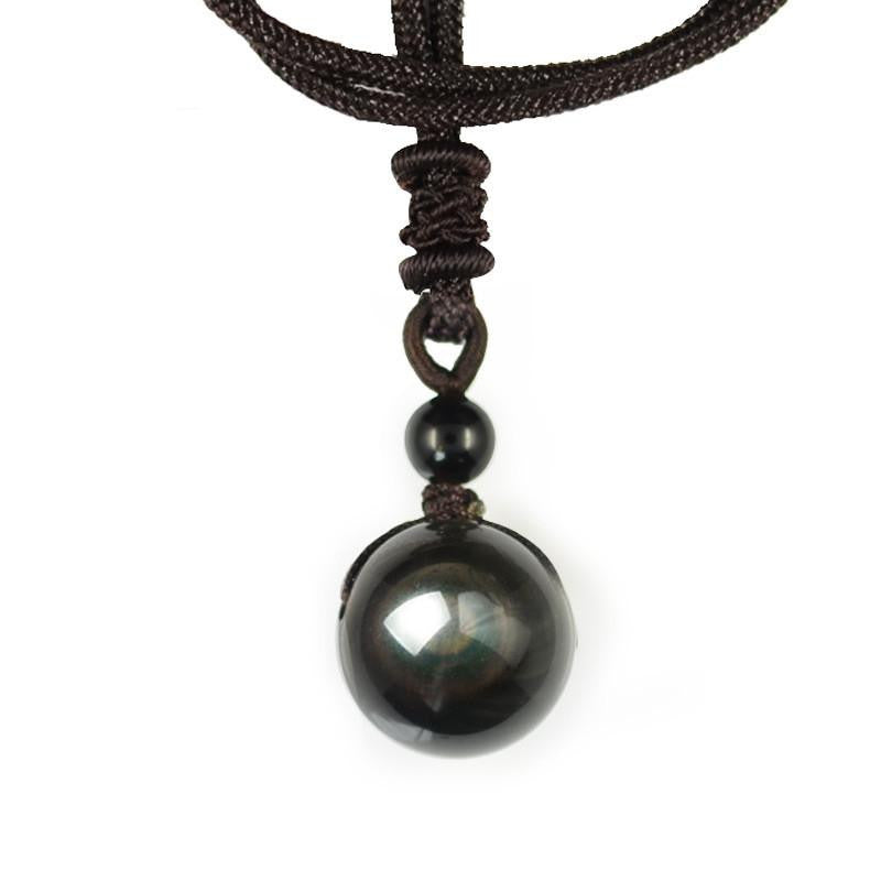 Lucky Energy Handmade Obsidian Chakra Ball Pendant Necklace