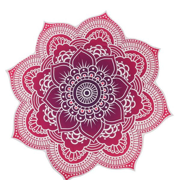 Bright Colorful Mandala Beach Yoga Picnic Blanket