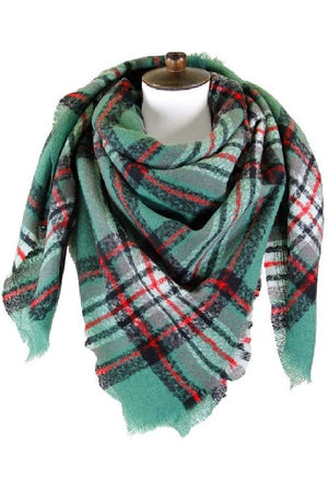Cozy Feeling Blanket Scarf Olive & Red