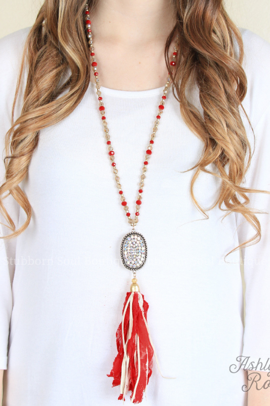 Candace Country Lace Red Tassel Necklace Stubborn Soul Boutique