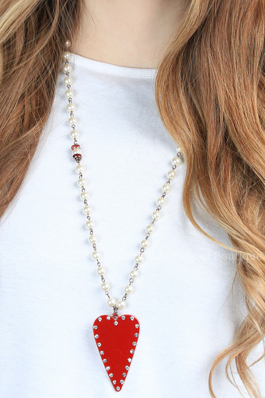 Studded Red Heart Necklace Stubborn Soul Boutique