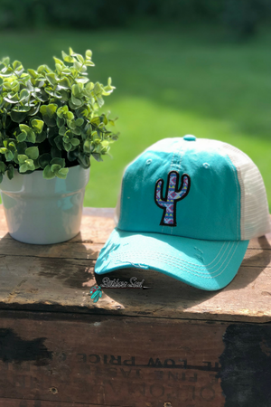 Aztec Cactus Distressed Turquoise Baseball Hat Stubborn Soul Boutique