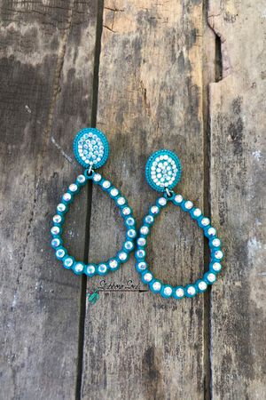 Turquoise & Silver Oval Earrings