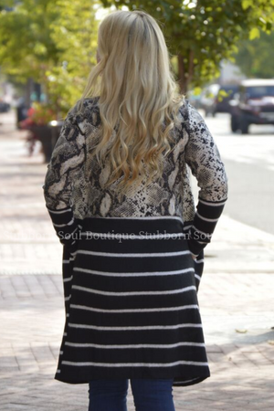 Eliza Snake Print and Stripe Cardigan Duster