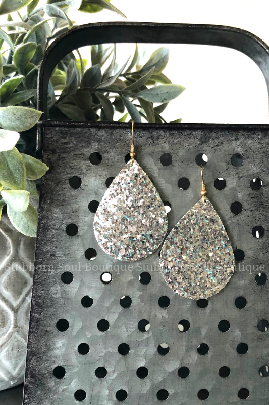 Glitter Teardrop Earrings in Silver Stubborn Soul Boutique